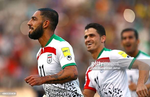 Ashkan Dejagah celebrates during Iran and Guam in FIFA World Cup Qualifier on September 3 2015 in Tehran Iran