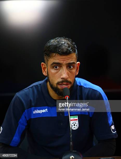 Ashkan Dejagah looks on during the Iran training session and Press Conference on June 13 2014 in Sao Paulo Brazilon June 13 2014 in Sao Paulo Brazil