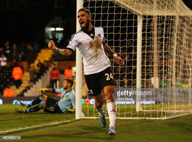 Ashkan Dejagah of Fulham celebrates as he scores their second goal during the FA Cup with Budweiser Third round replay match between Fulham and...