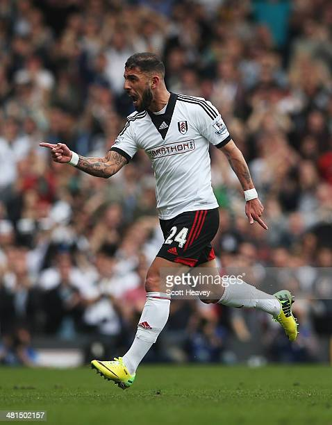 Ashkan Dejagah of Fulham celebrates his goal during the Barclays Premier League match between Fulham and Everton at Craven Cottage on March 30 2014...