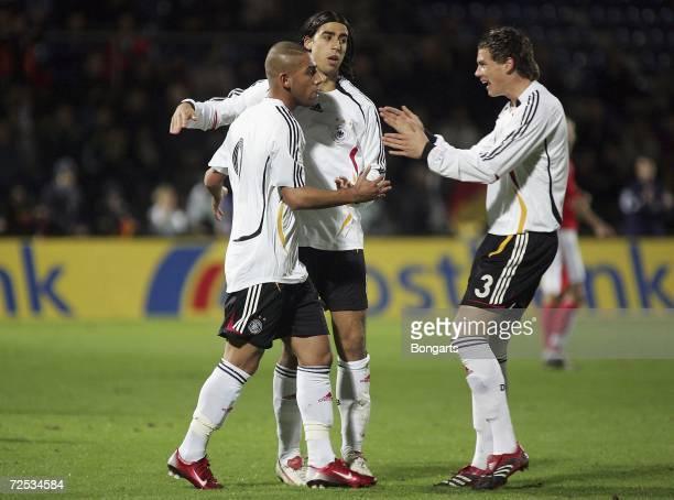 Ashkan Dejagah of Germany celebrates his goal, to lead 2:0, with his teammates Sami Khedira and Sebastian Boenisch during the Men's U20 international...