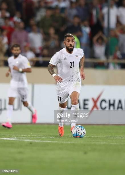 Ashkan Dejagah of Iran in action during FIFA 2018 World Cup Qualifier match between Iran and Uzbekistan at Azadi Stadium on June 12 2017 in Tehran...