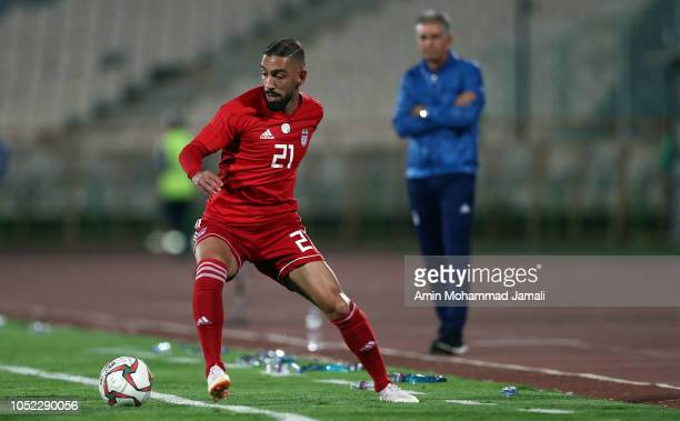 Ashkan Dejagah of Iran in action during the international friendly match between Iran and Bolivia at Azadi Stadium on October 16 2018 in Tehran Iran