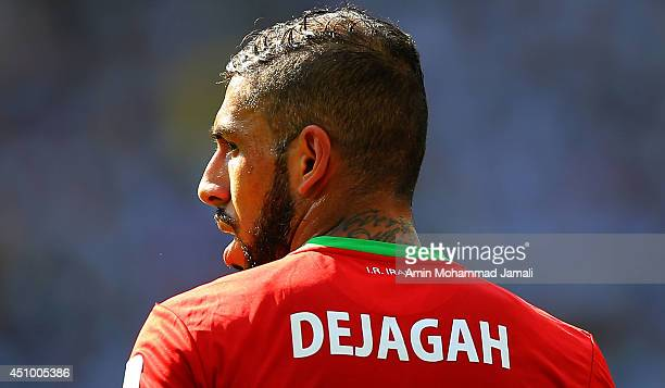 Ashkan Dejagah of Iran looks on during the 2014 FIFA World Cup Brazil Group F match between Argentina and Iran at Estadio Mineirao on June 21 2014 in...