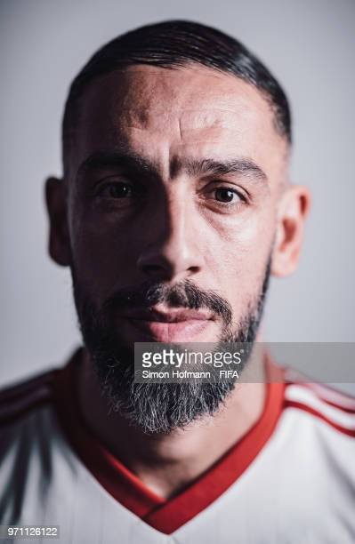 Ashkan Dejagah of Iran poses during the official FIFA World Cup 2018 portrait session at Bakovka Training Base on June 9 2018 in Moscow Russia