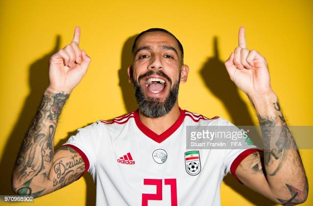 Ashkan Dejagah of Iran poses for a picture during the official FIFA World Cup 2018 portrait session at on June 9 2018 in Moscow Russia