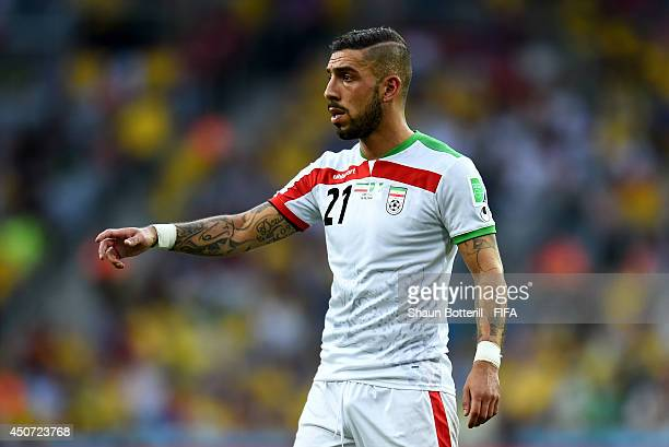 Ashkan Dejagah of Iran reacts during the 2014 FIFA World Cup Brazil Group F match between Iran and Nigeria at Arena da Baixada on June 16 2014 in...