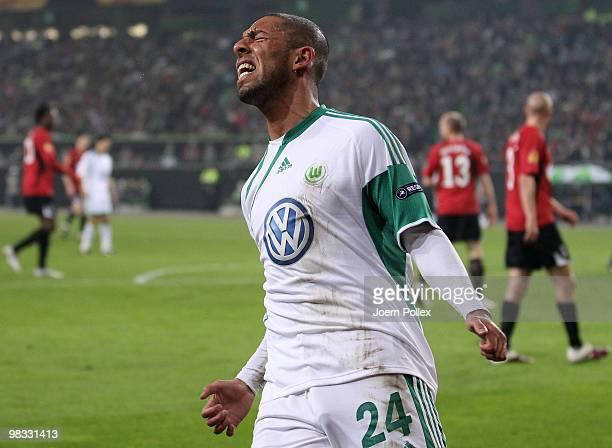 Ashkan Dejagah of Wolfsburg gestures during the UEFA Europa League quarter final second leg match between VfL Wolfsburg and Fulham at Volkswagen...
