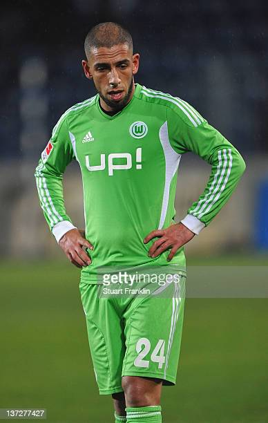 Ashkan Dejagah of Wolfsburg looks dejected during a friendly match between 1 FC Magdeburg and VfL Wolfsburg at the MDCC Arena on January 18 2012 in...