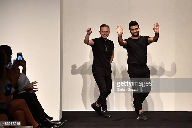 Ashkar Line designers Tristan Melle and Jamie Ashkar thank guests on the runway during the Ashkar Line show at MercedesBenz Fashion Week Australia...