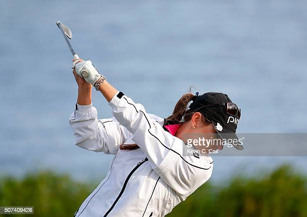 Ashlan Ramsey tees off the third hole during the second round of the Pure Silk Bahamas LPGA Classic at the Ocean Club Golf Course on January 29 2016...