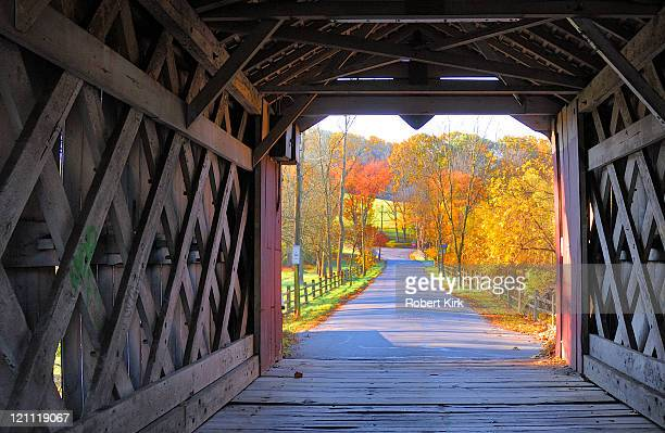 ashland covered bridge - yorklyn, delaware - covered bridge stock photos and pictures