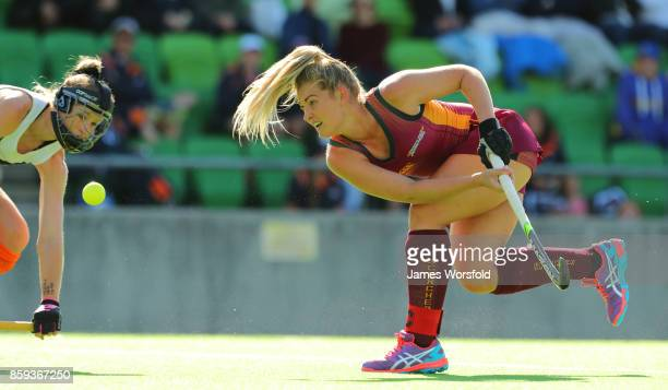 Ashlea Fey goes for a shot at goal in the 1st quarter at the women's 2017 Australian Hockey League gold medal final between Queensland Scorchers and...