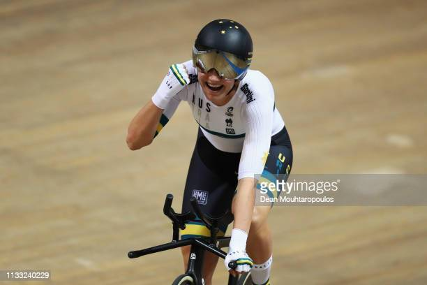 Ashlee Ankudinoff of Australia celebrates winning the gold medal in the Women's individual pursuit race on day four of the UCI Track Cycling World...