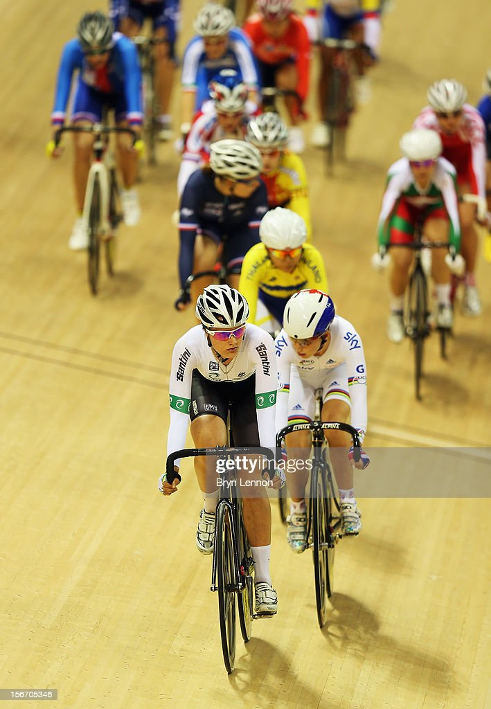 Ashlee Ankudinoff of Australia rides in the Women's Ominum Scratch Race during day three of the UCI Track Cycling World Cup at the Sir Chris Hoy Velodrome on November 18, 2012 in Glasgow, Scotland.