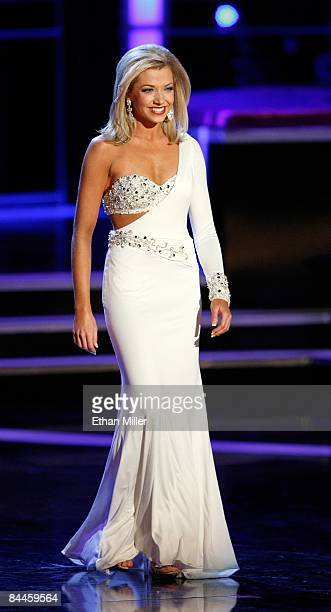 Ashlee Baracy Miss Michigan competes in the evening gown competition during the 2009 Miss America Pageant at the Planet Hollywood Resort Casino on...
