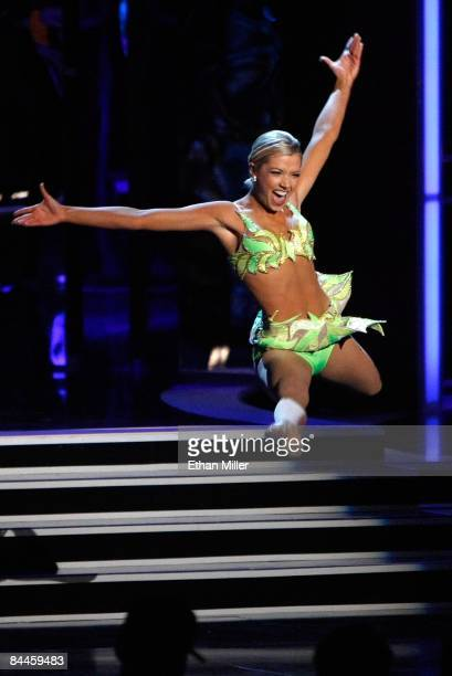Ashlee Baracy Miss Michigan competes in the talent competition during the 2009 Miss America Pageant at the Planet Hollywood Resort Casino on January...