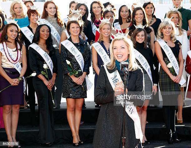 Ashlee Baracy Miss Michigan introduces herself at the arrival ceremony for contestants in the 2009 Miss America Pageant at the Planet Hollywood...