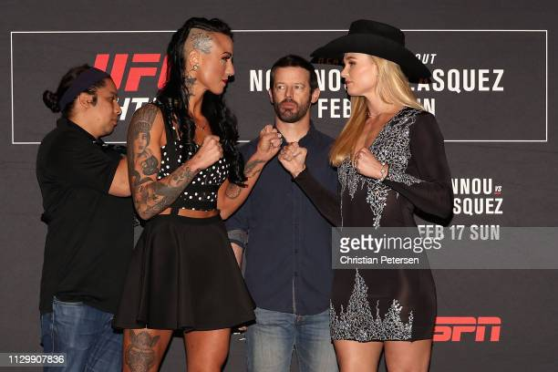 Ashlee EvansSmith and Andrea Lee faceoff during a press conference for UFC Fight Night Ngannou vs Velasquez at the Sheraton Grand Phoenix on February...