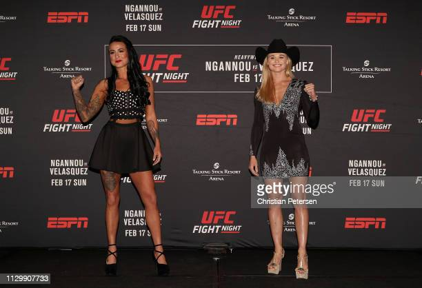 Ashlee EvansSmith and Andrea Lee pose together during a press conference for UFC Fight Night Ngannou vs Velasquez at the Sheraton Grand Phoenix on...