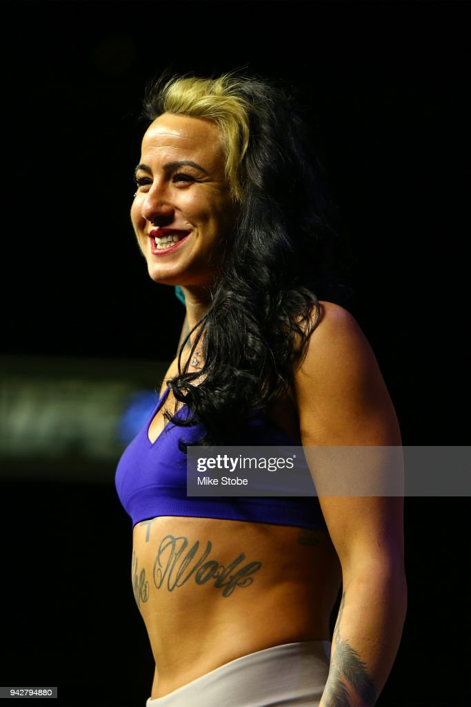 Ashlee Evans-Smith poses on the scale during the UFC 223 weigh-in inside at Barclays Center on April 6, 2018 in New York City.