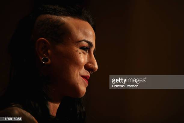 Ashlee EvansSmith speaks with the media during a press conference for UFC Fight Night Ngannou vs Velasquez at the Sheraton Grand Phoenix on February...