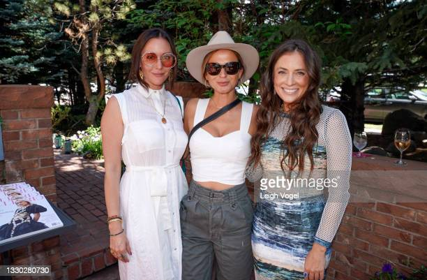 Ashlee Harrison, Evelyn Menin, and Ashley Wein pose for a photo during the Cultured X Valentino Summer Celebration for the Young Collectors List on...