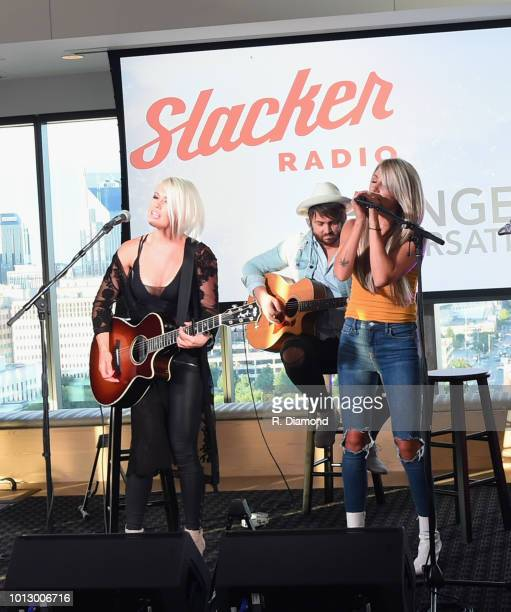Ashlee Hewitt and Whitney Duncan of Post Monroe perform during Change the Conversation Slacker Radio #WCE Country Launch Party at The Steps at WME on...