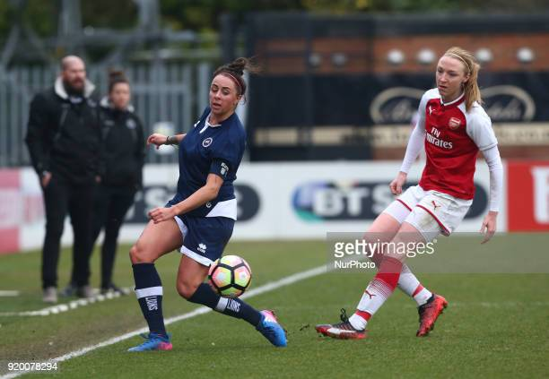 Ashlee Hinks of Millwall Lionesses L during The FA Women's Cup Fifth Round match between Arsenal against Millwall Lionesses at Meadow Park...