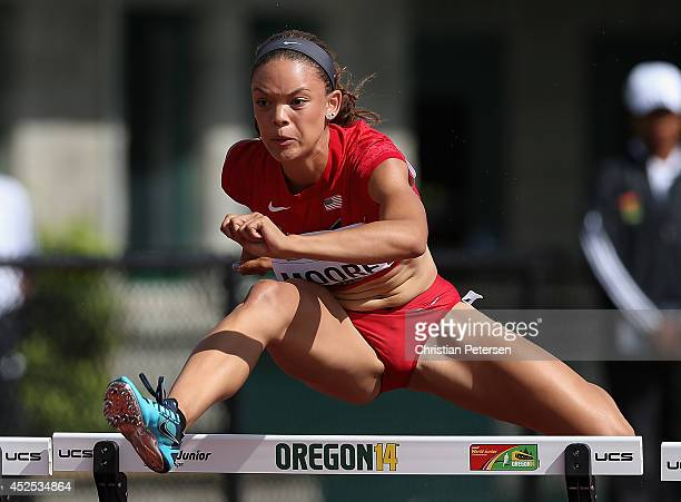 Ashlee Moore competes in the women's 100m hurdles heptathlon during day one of the IAAF World Junior Championships at Hayward Field on July 22 2014...