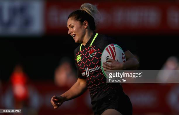 Ashlee Shanelle Byrge of England runs with the ball on day one of the Emirates Dubai Rugby Sevens HSBC World Rugby Sevens Series at The Sevens...