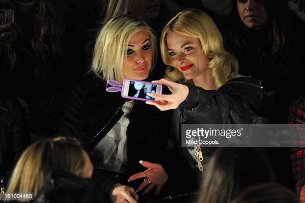 Ashlee Simpson and actress Jaime King attend the Rebecca Minkoff Fall 2013 fashion show during MercedesBenz Fashion at The Theatre at Lincoln Center...