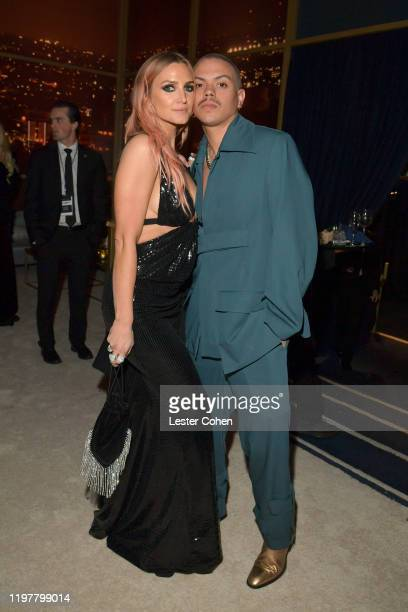 Ashlee Simpson and Evan Ross attend The 2020 InStyle And Warner Bros 77th Annual Golden Globe Awards PostParty at The Beverly Hilton Hotel on January...