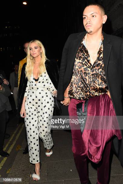 Ashlee Simpson and Evan Ross seen attending HM x Moschino collection launch party at Annabel's on November 6 2018 in London England