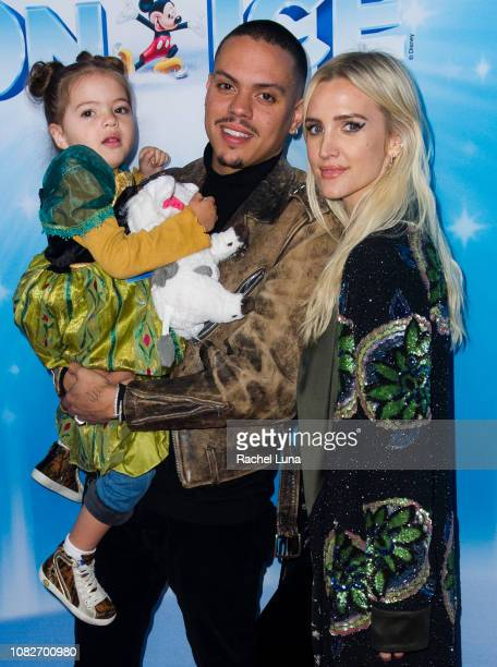 Ashlee Simpson and Evan Ross with daughter Jagger attend Disney On Ice Presents 'Dare To Dream' at Staples Center on December 14 2018 in Los Angeles...