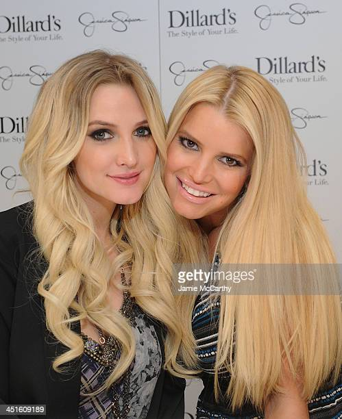 Ashlee Simpson and Jessica Simpson, both wearing Jessica Simpson Collection, attend a Jessica Simpson Collection event at Dillard's on November 23,...