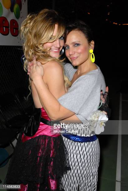 Ashlee Simpson and mother Tina Simpson hug during Ashlee Simpson's 23rd birthday party held at a private residence on October 6, 2007 in Los Angeles,...