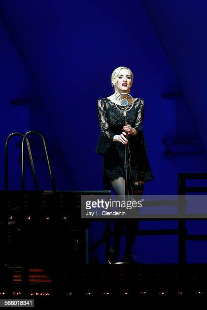 """Ashlee Simpson, as Roxie Hart, in a scene from the Los Angeles Philharmonic's performance of the musical """"Chicago,"""" directed by Brooke Shields, with..."""