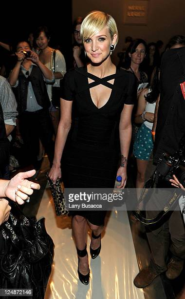 Ashlee Simpson attends the Herve Leger by Max Azria Spring 2012 fashion show during MercedesBenz Fashion Week at The Theater at Lincoln Center on...
