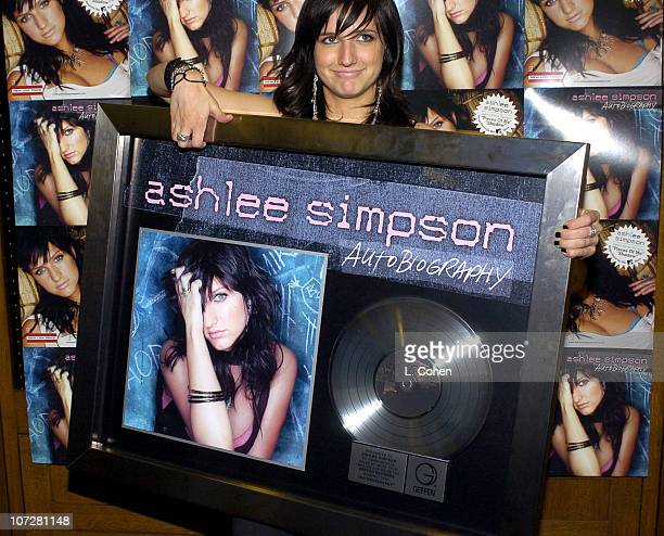 Ashlee Simpson during Geffen Records Suprises Ashlee Simpson with a Platinum Record for Her Album 'Autobiography' at Geffen Records in Santa Monica...