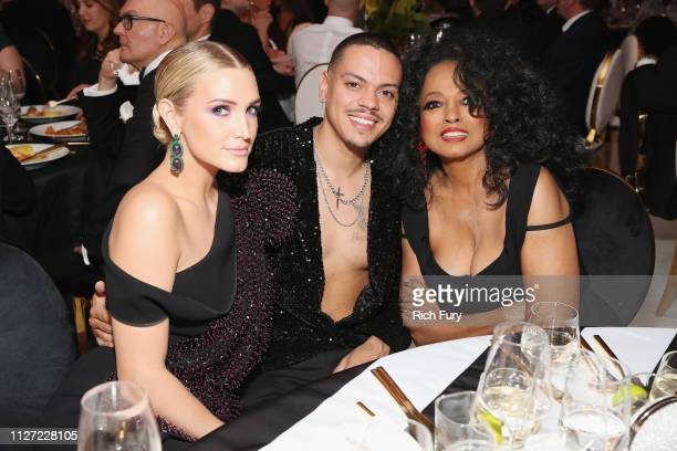 Ashlee Simpson Evan Ross and Diana Ross attend the 27th annual Elton John AIDS Foundation Academy Awards Viewing Party sponsored by IMDb and Neuro...