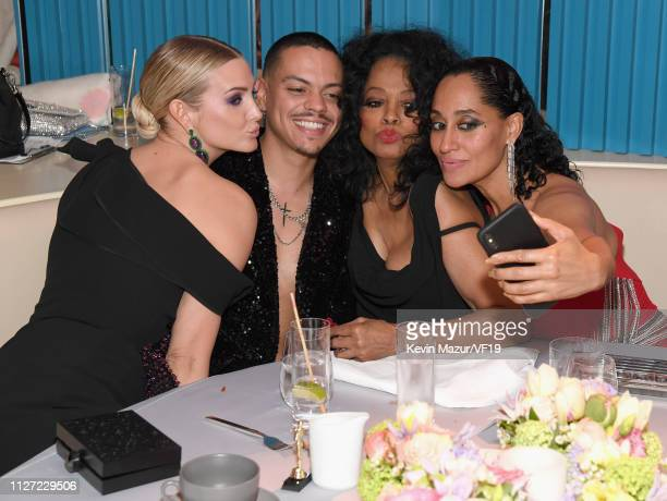 Ashlee Simpson Evan Ross Diana Ross and Tracee Ellis Ross attend the 2019 Vanity Fair Oscar Party hosted by Radhika Jones at Wallis Annenberg Center...