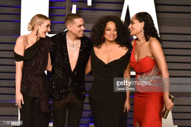 Ashlee Simpson Evan Ross Diana Ross and Tracee Ellis Ross attend the 2019 Vanity Fair Oscar Party at Wallis Annenberg Center for the Performing Arts...