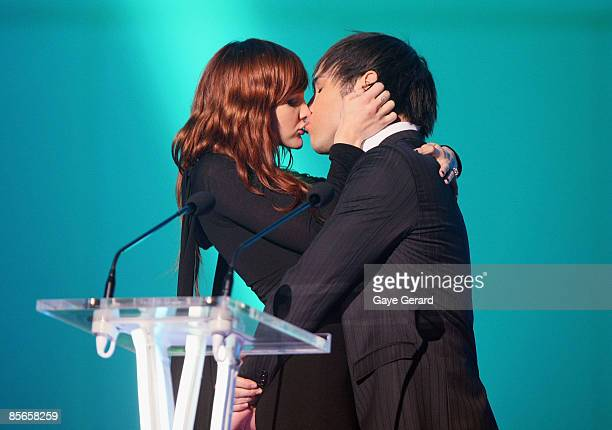 Ashlee Simpson joins partner Pete Wentz on stage as he hosts the Vodafone MTV Australia Awards 2009 at the Sydney Convention and Exhibition Centre...