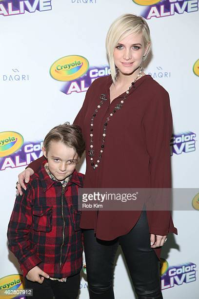 Ashlee Simpson Ross and her son Bronx Mowgli Wentz attend 'Color Alive' Launch Event at Open House Gallery on February 5 2015 in New York City