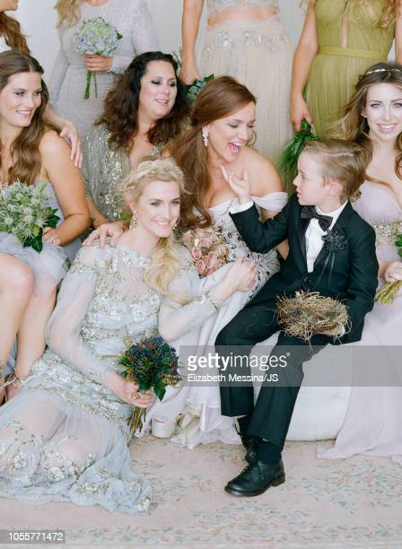 Ashlee Simpson, Tina Simpson and Bronx Mowgli Wentz attend the wedding of Jessica Simpson and Eric Johnson at San Ysidro Ranch on July 5, 2014 in...
