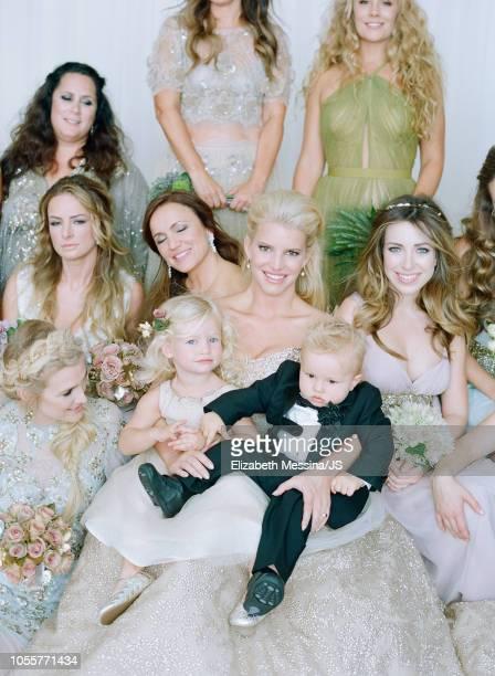 Ashlee Simpson, Tina Simpson, Maxwell Johnson, Jessica Simpson, Ace Johnson and Lauren Zelman Harrison attend the wedding of Jessica Simpson and Eric...