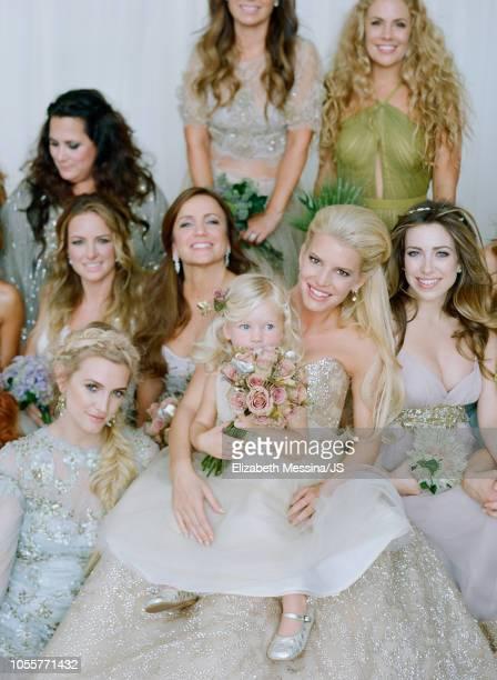 Ashlee Simpson, Tina Simpson, Maxwell Johnson, Jessica Simpson and Lauren Zelman Harrison attend the wedding of Jessica Simpson and Eric Johnson at...