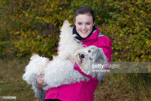 Ashleigh and Pudsey attend the launch photocall for the Highland Spring's Woodland Wonder Campaign on October 22 2012 in St Albans England
