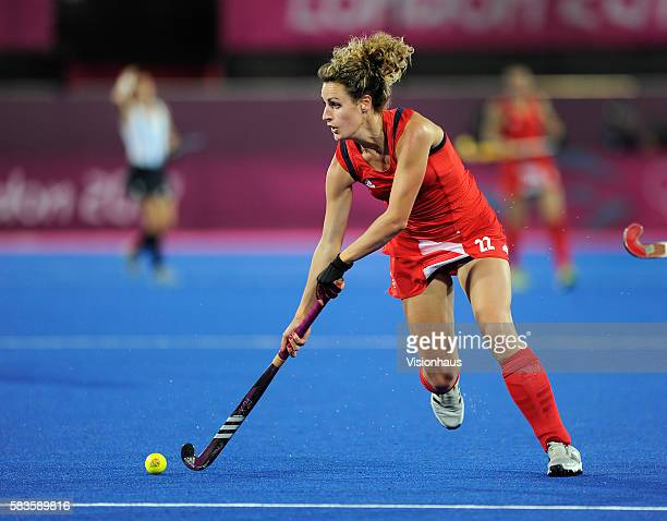 Ashleigh Ball of Great Britain in action during the Womens Hockey semi final between Great Britain and Argentina as part of the 2012 London Olympic...